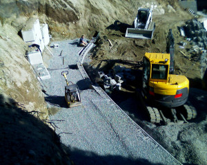 Hare Retaining wall repairing process image - tier leveling