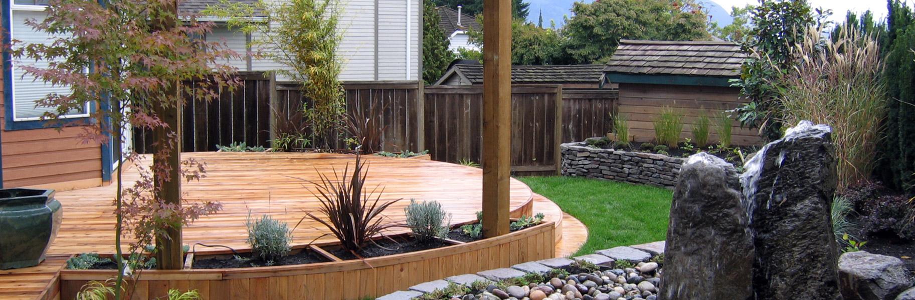Wood patio with built in custom garden planters